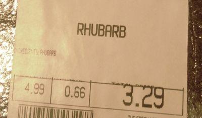 Rhubarb price