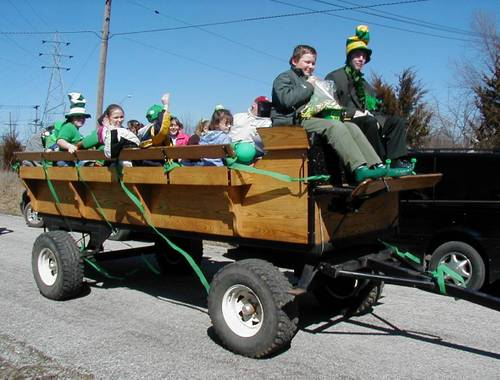 A full wagon of St. Patrick's revelers